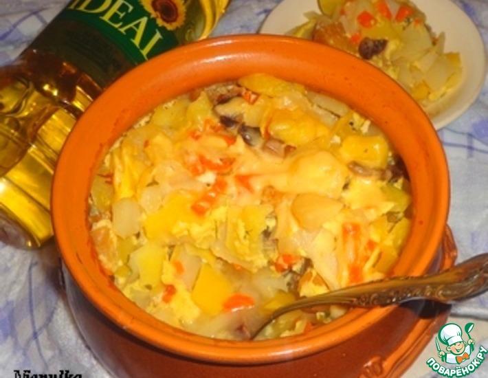 Рецепт: Картофель с нектарином в молочно-яичной заливке