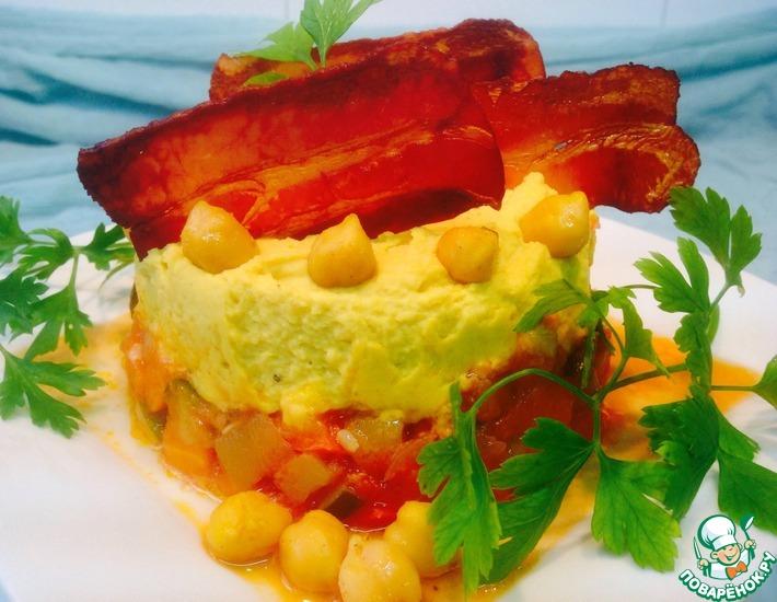 Рецепт: Овощное рагу с нутом и хрустящим беконом