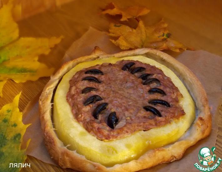 Рецепт: Пирог-тыква с мясной начинкой