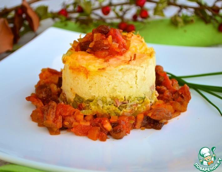 Рецепт: Картофельная бабка с луком-пореем