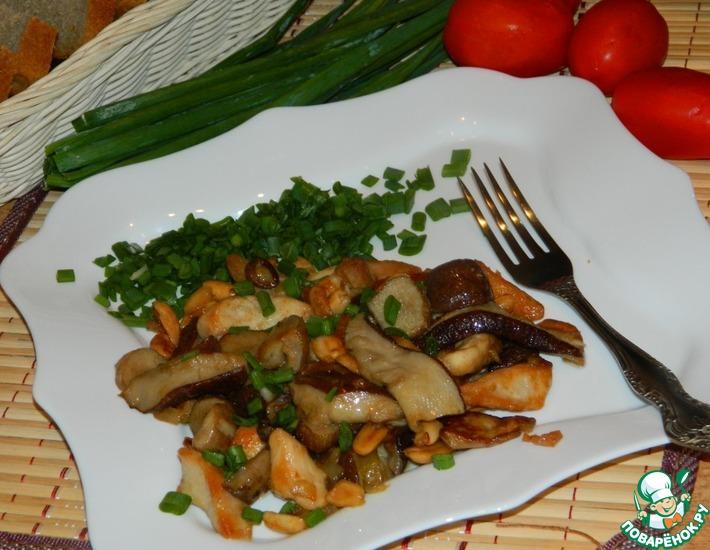 Рецепт: Грибы с курицей и арахисом