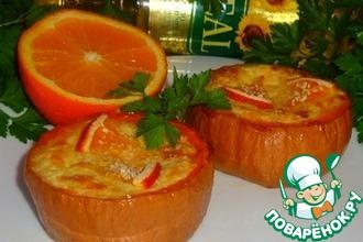 Рецепт: Рыбный жульен в тыквенных кокотницах Золотая осень