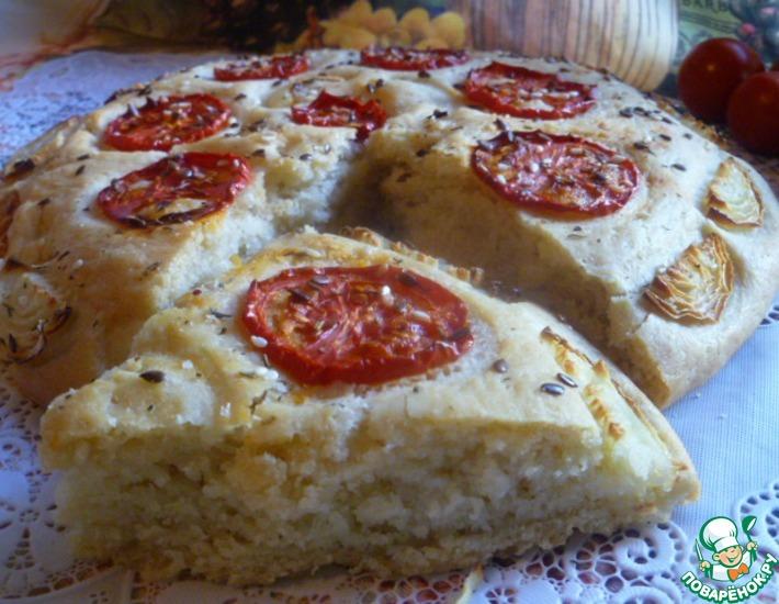 Рецепт: Хлеб с помидорами и луком
