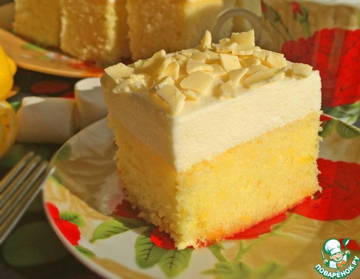 Рецепт: Лимонный пирог с облаком из маршмеллоу