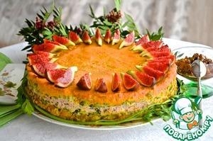 Рецепт: Овощной пирог с индейкой и фруктовым соусом