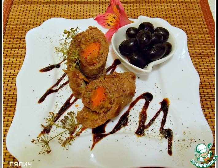 Рецепт: Мясные рулеты с морковью и инжиром