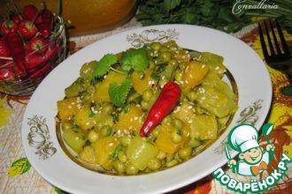 Рецепт: Цуккини с тыквой и зеленым горошком