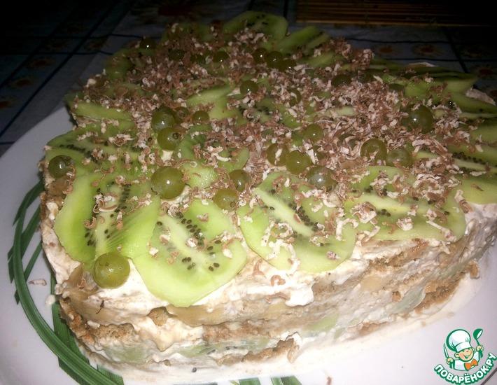 Рецепт: Пряничный тортик с бананом и киви