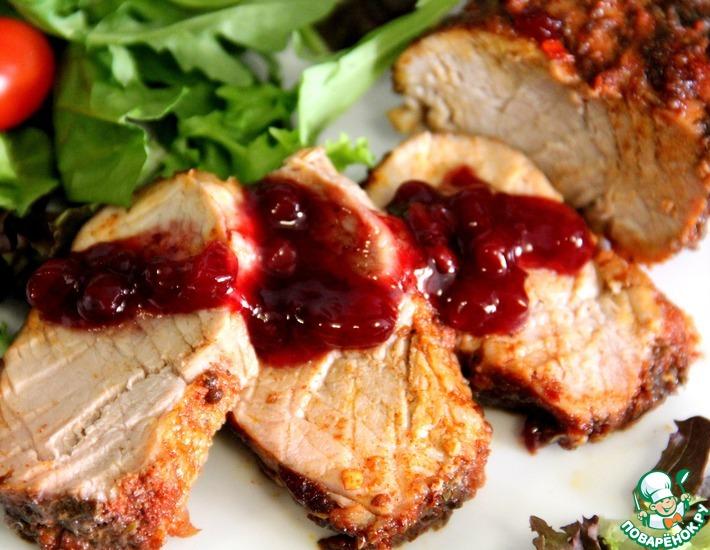 Рецепт: Свинина с брусничным соусом
