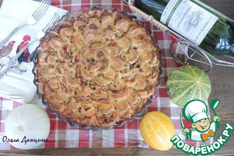 Рецепт: Капустно-мясной пирог Хризантема