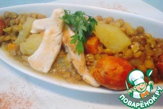 Рецепт: Чечевица с курицей и чоризо-Лентехас