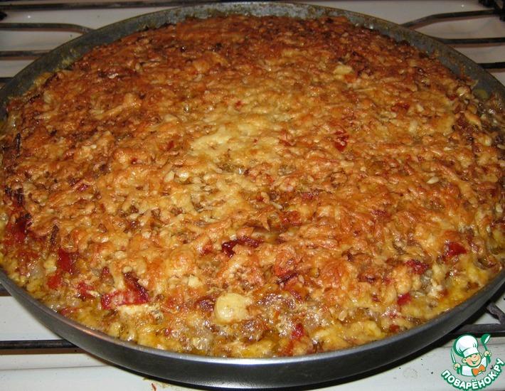 Рецепт: Мясо, запечённое с овощами, рисом и сыром