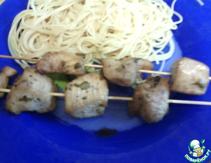 Рецепт: Куриный шашлычок в духовке