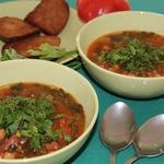 Суп из турецкого гороха с испанской колбасой чоризо