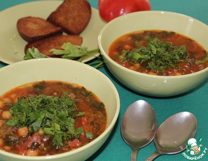 Рецепт: Суп из турецкого гороха с испанской колбасой чоризо
