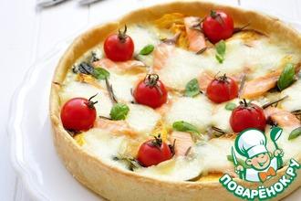 Рецепт: Тарт с лососем, тыквой, шпинатом и моцареллой