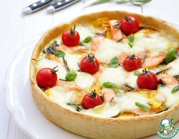 Рецепт: Тарт с лососем, овощами и моцареллой