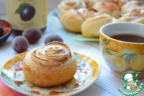 Слоеные розочки к чаю – кулинарный рецепт