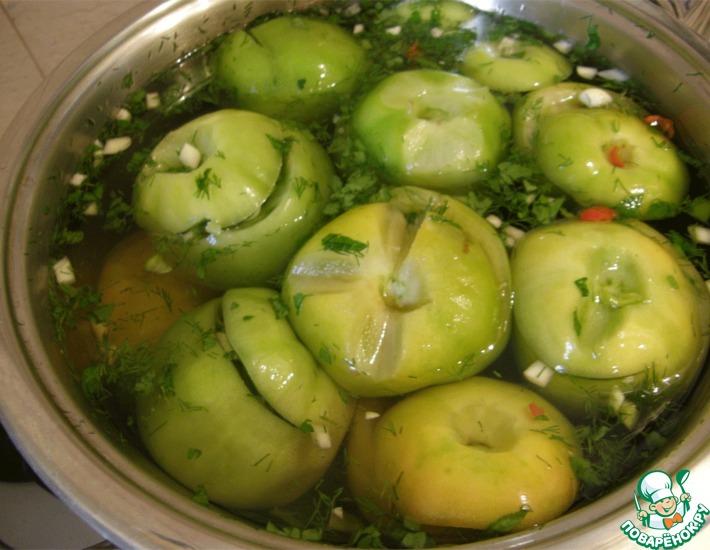 Рецепт: Квашеные зеленые помидоры