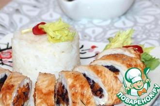 Рецепт: Куриные рулетики с овощами и рисом