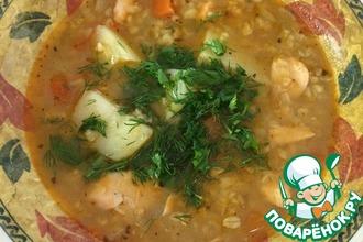 Рецепт: Суп с лососем, булгуром и чечевицей