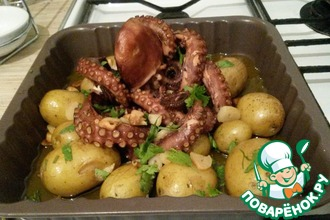 Рецепт: Осьминог по-португальски с картофелем