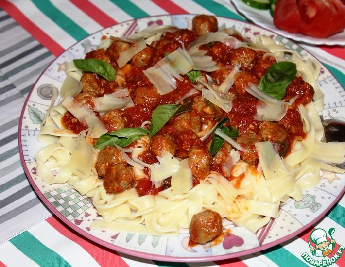 Рецепт: Крошечные фрикадельки с тальятелле