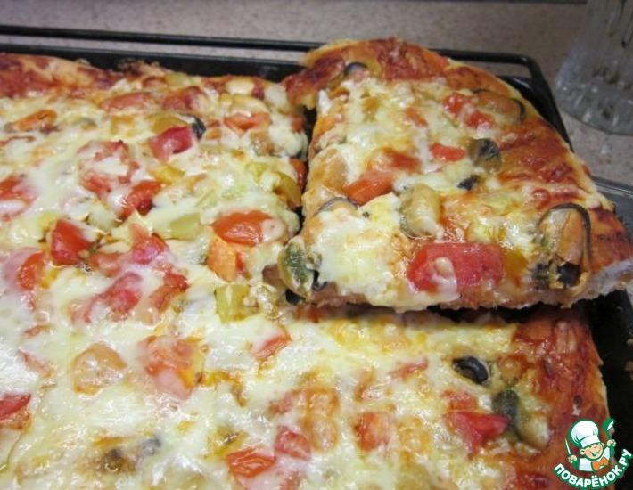 Рецепт: Пицца с мидиями и пицца с мясом