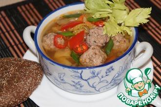 Рецепт: Суп с китайской капустой и фрикадельками