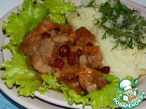Рецепт Баранина тушеная с портвейном и клюквенным соусом (в мультиварке)
