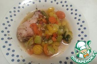 Рецепт: Куриная голень с овощами