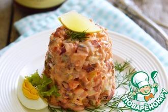 Рецепт: Салат из свеклы с сельдью и брусничной заправкой