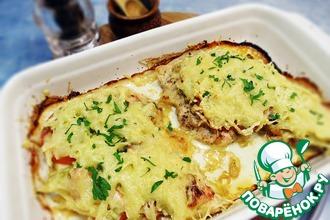Рецепт: Куриное филе под сырно-овощной шубой