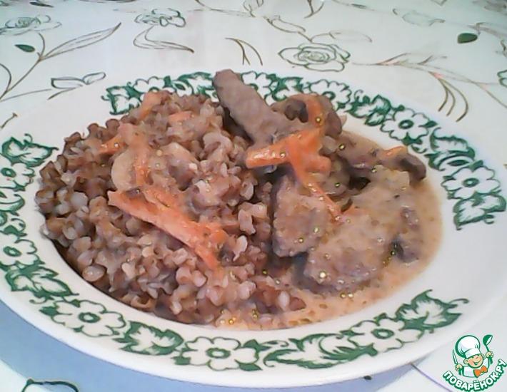 Печень под белым соусом – кулинарный рецепт.