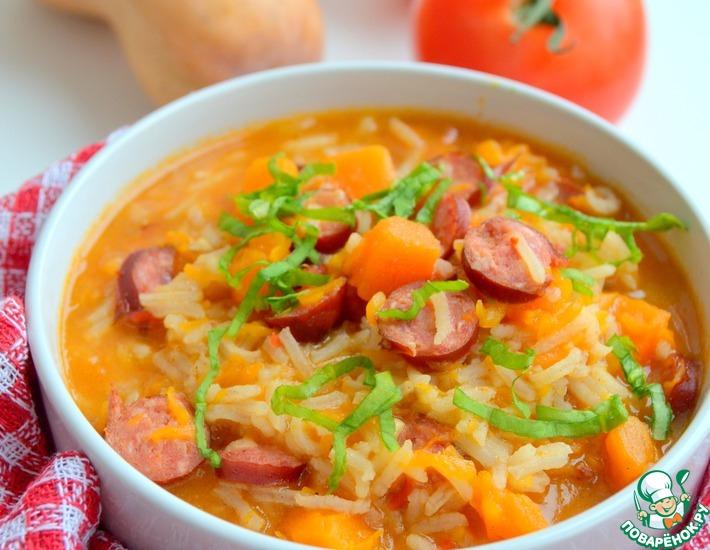 Рецепт: Рис с чили из тыквы и копченых колбасок