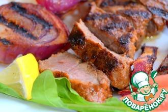Рецепт: Говядина-гриль с красным луком