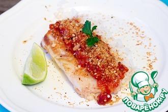 Рецепт: Филе трески с соусом из томатов с красной фасолью