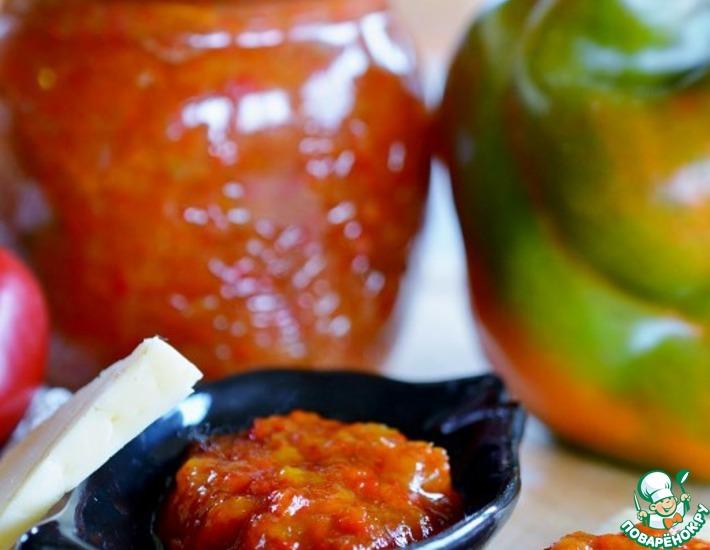Рецепт: Заготовка из печёного перца с медом и брусникой