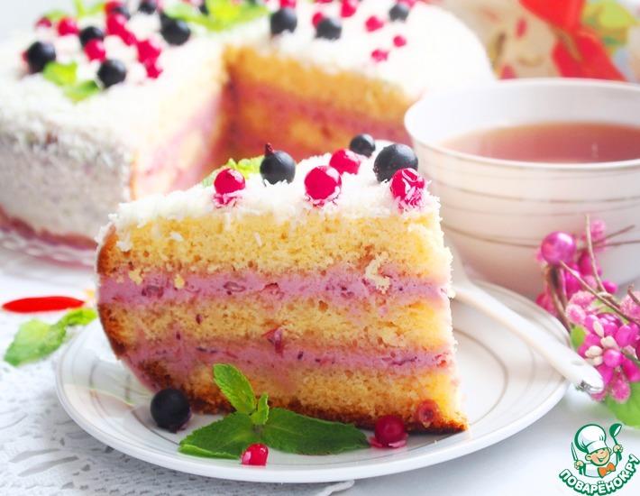 Рецепт: Торт Клюквенная нежность