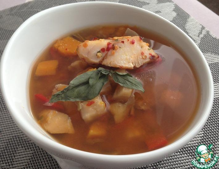 Рецепт: Лёгкий суп из трески с тыквой в мультиварке