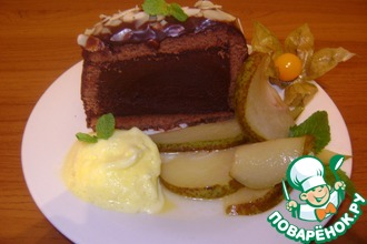 Рецепт: Шоколадная маркиза с грушами-фламбе