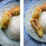 Фаршированные кабачки со свининой к рису
