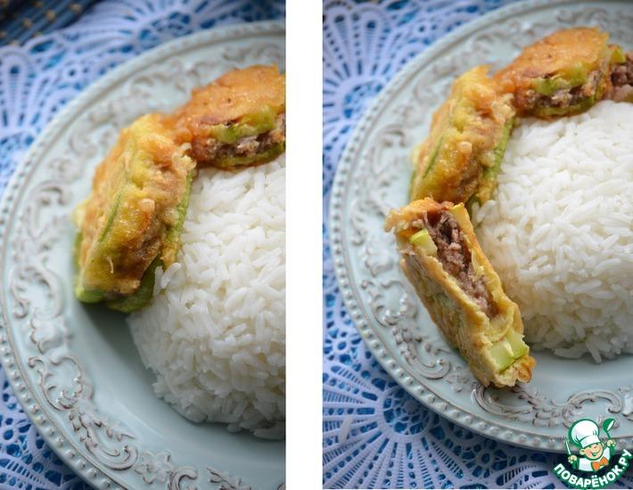 Рецепт: Фаршированные кабачки со свининой к рису