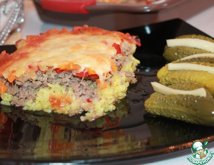 Рецепт: Запеканка мясная с рисом и овощами