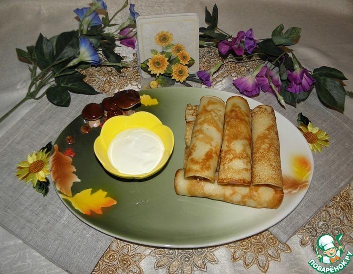 Рецепт: Блины с креветками и банановым соусом