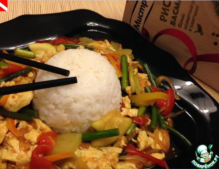 Рецепт: Тофу по-японски с овощами и рисом