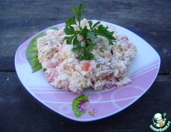 Рецепт: Салат с плавленым сыром и сухариками