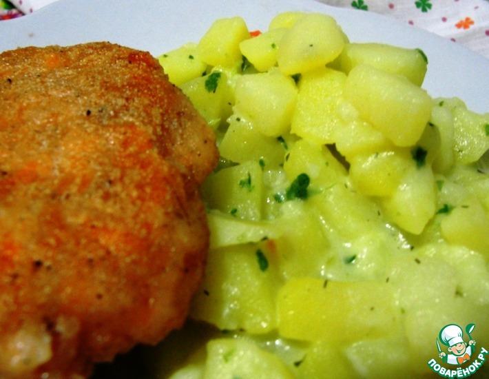 Рецепт: Котлета из семги с картофелем по-сельски