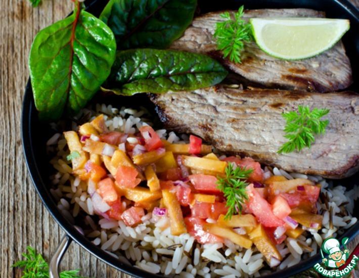Рецепт: Говядина с персиковой сальсой и рисом