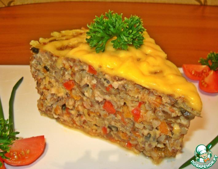 Рецепт: Гречневая запеканка с фаршем и грибами